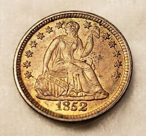 1852 SEATED HALF DIME LOVELY GOLD TONE