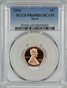 1990 NO S LINCOLN CENT PCGS PR69 RED DEEP CAMEO SUPER  PROOF ERROR COIN