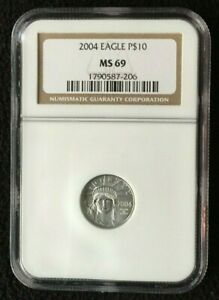 2004 PLATINUM $10 EAGLE NGC MS69 | 1/10TH OUNCE | ORIGINAL NGC BROWN HOLDER