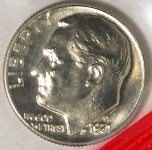 1971 D 10C ROOSEVELT DIME 19CO0109 BU CLAD/MINT SET ONLY 50 CENTS FOR SHIPPING