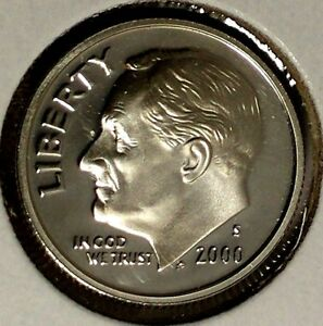 2000 S 10C ROOSEVELT DIME 18OSR0803 90  SILVER PROOF ONLY 50 CENTS FOR SHIPPING