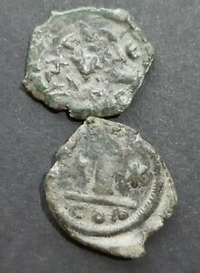 BYZANTINE BRONZE COINS. LOT OF 2 COINS