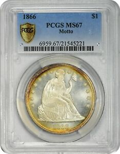 Click now to see the BUY IT NOW Price! FINEST 1866 $1 MOTTO MS67 PCGS LIBERTY SEATED DOLLAR