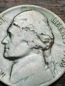 '  SILVER  ERROR' JEFFERSON WAR NICKLE 5 DIE CRACKS ON HEAD & LIBERTY 664