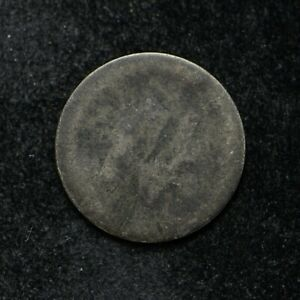 SILVER THREE CENT PIECE  HOLE ON REVERSE  DATE UNREADABLE  BB3105
