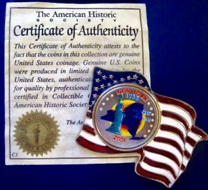 2001 NEW YORK NY COLORIZED STATE QUARTER AMERICAN US FLAG PLEDGE ALLEGIANCE PIN