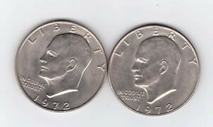1972P & 1972D EISENHOWER DOLLAR COINS.  TWO NICE COINS