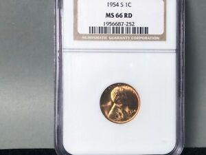 1954 S NGC MS66 RD RED LINCOLN WHEAT PENNY CENT. GORGEOUS ROLLING LUSTER
