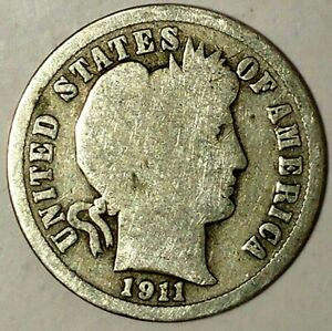 1911 P 10C BARBER DIME 19RR0604 90  SILVER ONLY 50 CENTS FOR SHIPPING