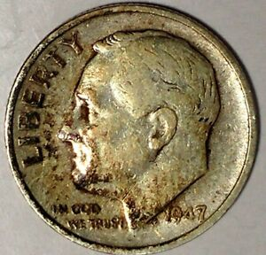 1947 S 10C ROOSEVELT DIME 17LSR2412 3 90  SILVER ONLY 50 CENTS FOR SHIPPING
