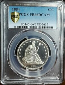1884 50C DEEP CAMEO SEATED LIBERTY HALF DOLLAR PCGS PR 66DCAM  FINEST KNOWN DCAM