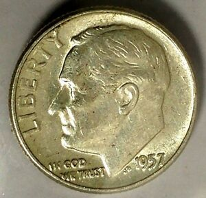 1957 P 10C ROOSEVELT DIME 18LSR0402 1 90  SILVER BU ONLY 50 CENTS FOR SHIPPING