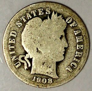 1908 P 10C BARBER DIME 18OTT0816 90  SILVER ONLY 50 CENTS FOR SHIPPING