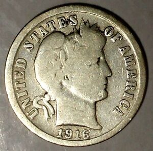 1916 P 10C BARBER DIME UAT 8 90  SILVER ONLY 50 CENTS FOR SHIPPING
