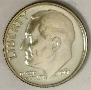 1961 P 10C ROOSEVELT DIME OCO 90  SILVER PROOF ONLY 50 CENTS FOR SHIPPING