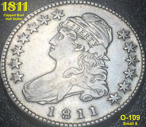 1811 CAPPED BUST HALF DOLLAR  O 109  SMALL 8