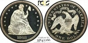 Click now to see the BUY IT NOW Price! 1868 $1 PROOF SEATED LIBERTY DOLLAR PCGS & CAC PR64 DCAM   CAC POP 1 NONE HIGHER