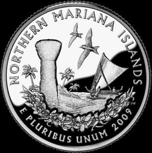 2009 S 25C TERRITORIES QUARTER MARIANA ISLANDS RR GDC CLAD  50 CENTS FOR SHIP