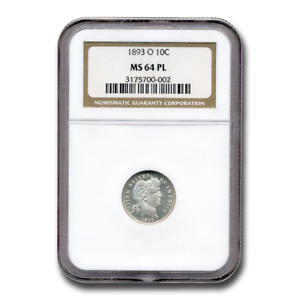 Click now to see the BUY IT NOW Price! 1893 O BARBER DIME MS 64 NGC  PL    SKU200059