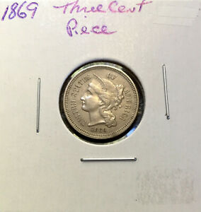 1869 THREE CENT NICKEL    MINT ERROR    STRONGLY DETAILED COIN