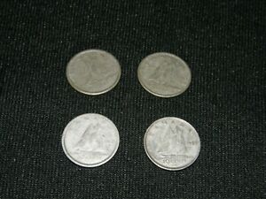 CANADA SILVER DIMES 10 CENTS / LOT OF 4 COINS  2  1955  1  1957  1  1953