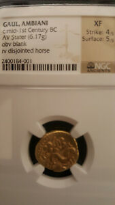 Click now to see the BUY IT NOW Price! 65 55 BC GAUL AMBIANI GOLD STATER DISJOINTED HORSE NGC XF NICELY STRUCK SPINK 11