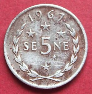 SAMOA  COLLECTABLE 1967  VINTAGE FIVE SENE CIRCULATED COIN  TANUMAFILI  11