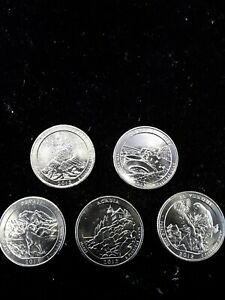 2012 S 25C AMERICA THE BEAUTIFUL QUARTER 5 COIN SET UNCIRCULATED MINT STATE