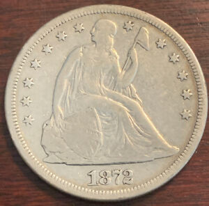 1872 S SEATED LIBERTY SILVER DOLLAR   FINE CONDITION   MINTAGE 9 000   M281