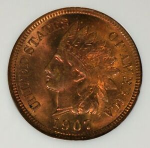 1907 INDIAN HEAD CENT NGC MS65RB  ALLOTTA RED SHARP GEM OLD FATTY