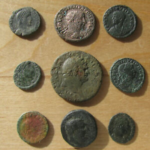 Click now to see the BUY IT NOW Price! NINE ROMAN COINS INCLUDING A VESPASIAN AS & INTERESTING SPANISH COLONY COIN?