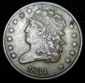 1834 CLASSIC HEAD HALF CENT   XF DETAILS