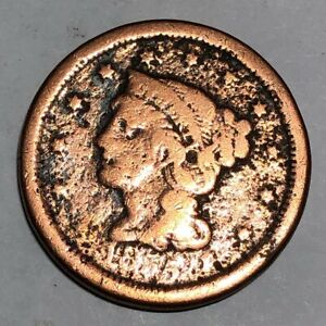 1855 BRAIDED HAIR US LARGE CENT. GOOD ROUGH SURFACES CLEANED.   LOTQ3