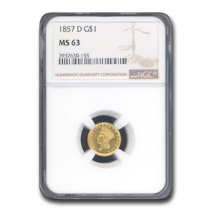 Click now to see the BUY IT NOW Price! 1857 D $1 INDIAN HEAD GOLD MS 63 NGC   SKU196438
