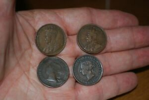 4 CANADA ONE CENT COINS 2 VICTORIA 1888 1900 2 EDWARD 1916 1918