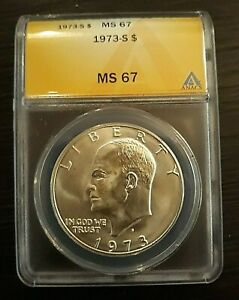 1973 S 40  SILVER EISENHOWER DOLLAR  ANACS MS 67