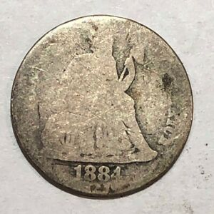 1884 SEATED LIBERTY US SILVER DIME POOR.