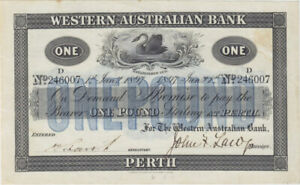 Click now to see the BUY IT NOW Price! WESTERN AUSTRALIAN BANK  PERTH  1897 1 POUND ISSUED NOTE MVR 3C GOOD EF