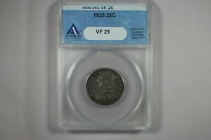 1835 CAPPED BUST QUARTER ANACS VF25