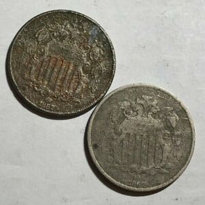 TWO POROUS VG US SHIELD NICKELS. 1867 WITH RAYS & 1867 NO RAYS.  LOTNA4