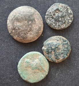 ANCIENT GREEK BRONZE. LOT OF 4 COINS
