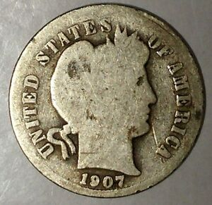 1907 P 10C BARBER DIME 18OCT0701 90  SILVER ONLY 50 CENTS FOR SHIPPING