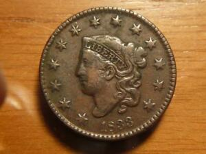 1833 LARGE CENT DOUBLE PROFILE ERROR VF/XF CONDITION   SKU17950