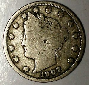 1907 P 5C LIBERTY HEAD NICKEL 18CT1103 ONLY 50 CENTS FOR SHIPPING