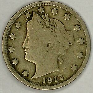 1912 P 5C LIBERTY HEAD NICKEL 19WT0822 ONLY 50 CENTS FOR SHIPPING