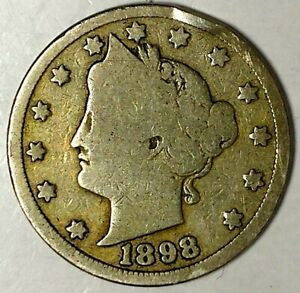 1898 P 5C LIBERTY HEAD NICKEL 18LCL0203 ONLY 50 CENTS FOR SHIPPING