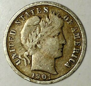 1901 P 10C BARBER DIME 19UUC0511 90  SILVER ONLY 50 CENTS FOR SHIPPING