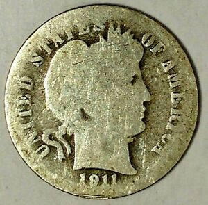 1911 D 10C BARBER DIME 19OOC0328 90  SILVER ONLY 50 CENTS SHIPPING