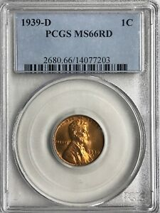 1939 D  AND 1939 S PCGS LINCOLN CENTS   BOTH MS66RD
