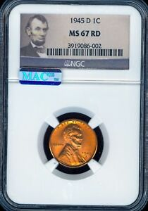 1945 D LINCOLN CENT GRADE BY NGC MAC MS67RD  ..